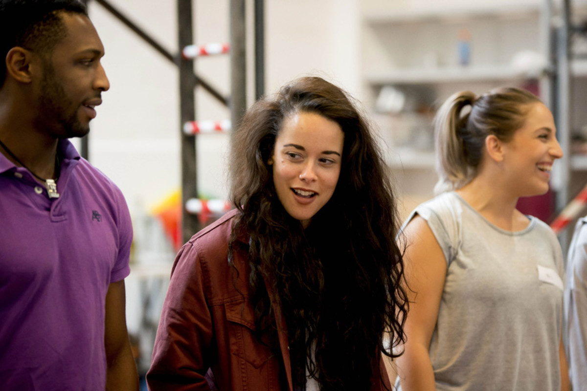 Javar La'trail Parker, Philippa Stefani and Christina Modestou in rehearsals for Rent (Photo: Matt Crockett)