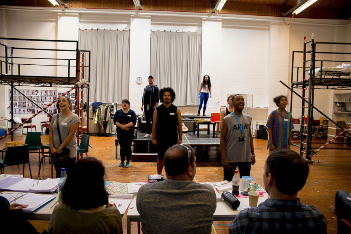The cast in rehearsals for Rent (Photo: Matt Crockett)