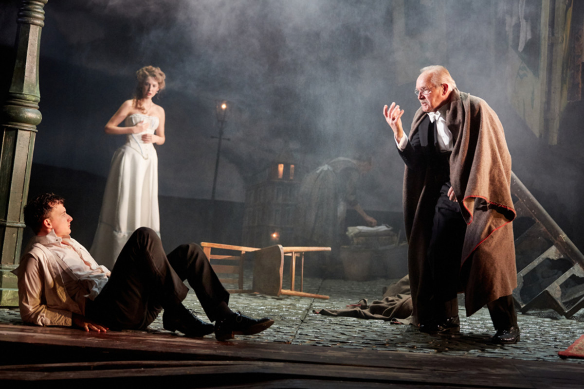 Hamish Riddle, Carmela Corbett and Clive Francis in An Inspector Calls at the Playhouse Theatre (Photo by Mark Douet)