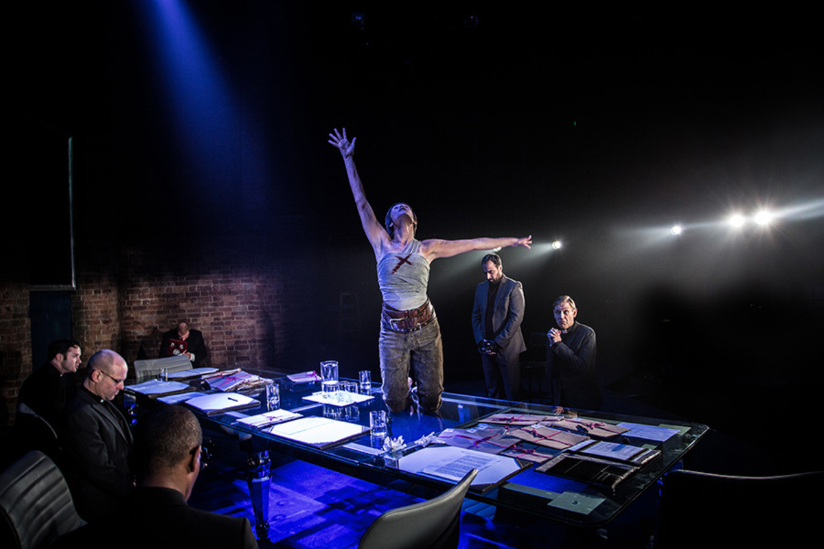 Gemma Arterton (Joan) and company in the Donmar Warehouse's production of Saint Joan, dir Josie Rourke (Photo: Jack Sain)