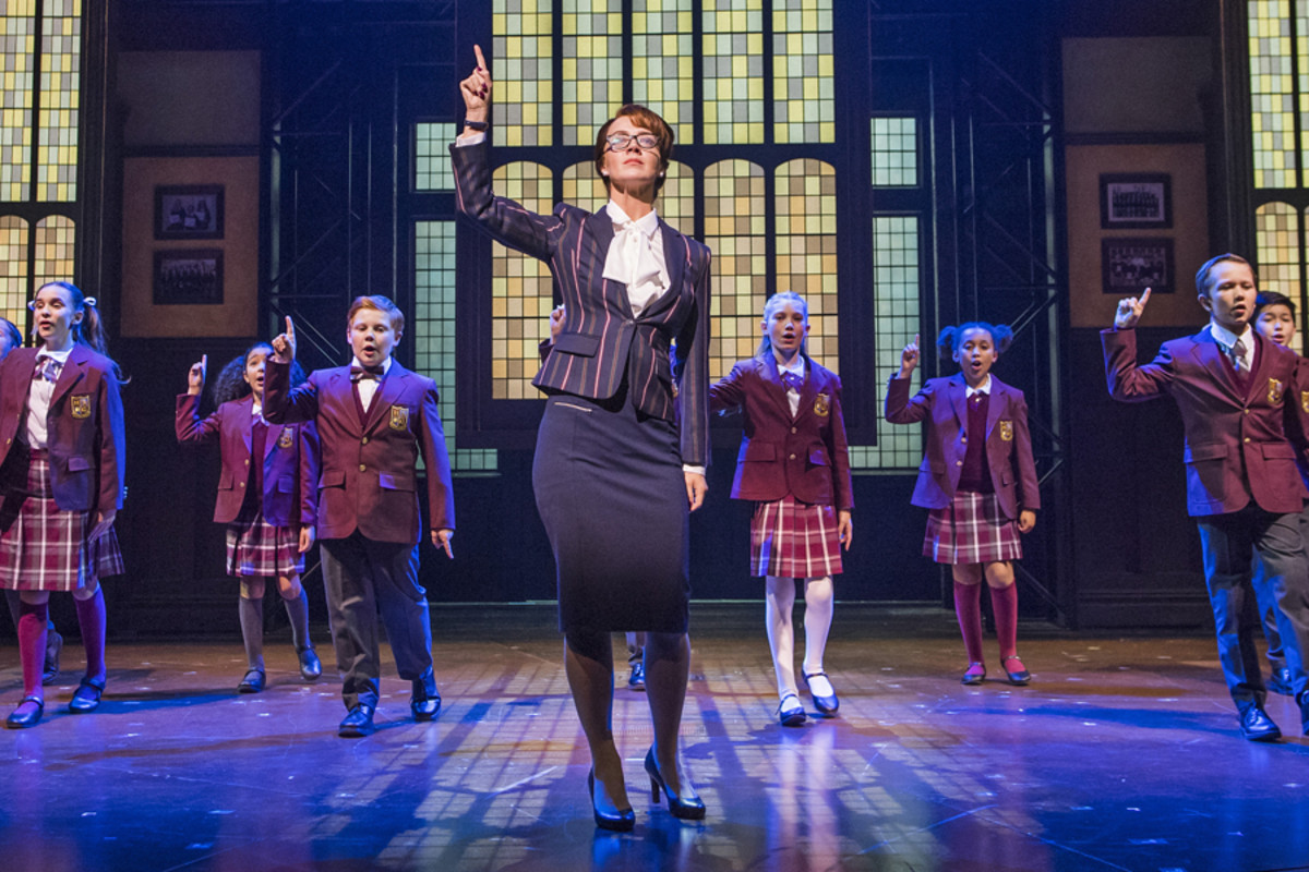 Florence Andrews (Rosalie Mullins) & the kids from School Of Rock (Photo by Tristram Kenton)