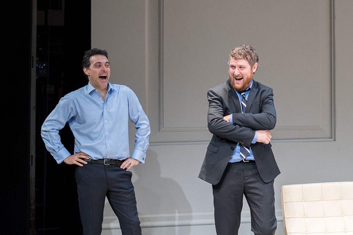 Rufus Sewell (Serge) and Tim Key (Yvan) in 'Art' at The Old Vic (Photo: Manuel Harlan)
