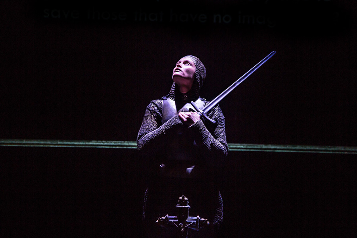 Gemma Arterton (Joan) in the Donmar Warehouse's production of Saint Joan, dir Josie Rourke (Photo: Jack Sain)