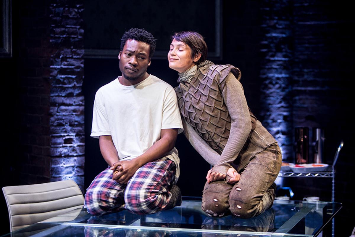 Fisayo Akinade (The Dauphin) and Gemma Arterton (Joan) in the Donmar Warehouse's production of Saint Joan, dir Josie Rourke (Photo: Jack Sain)
