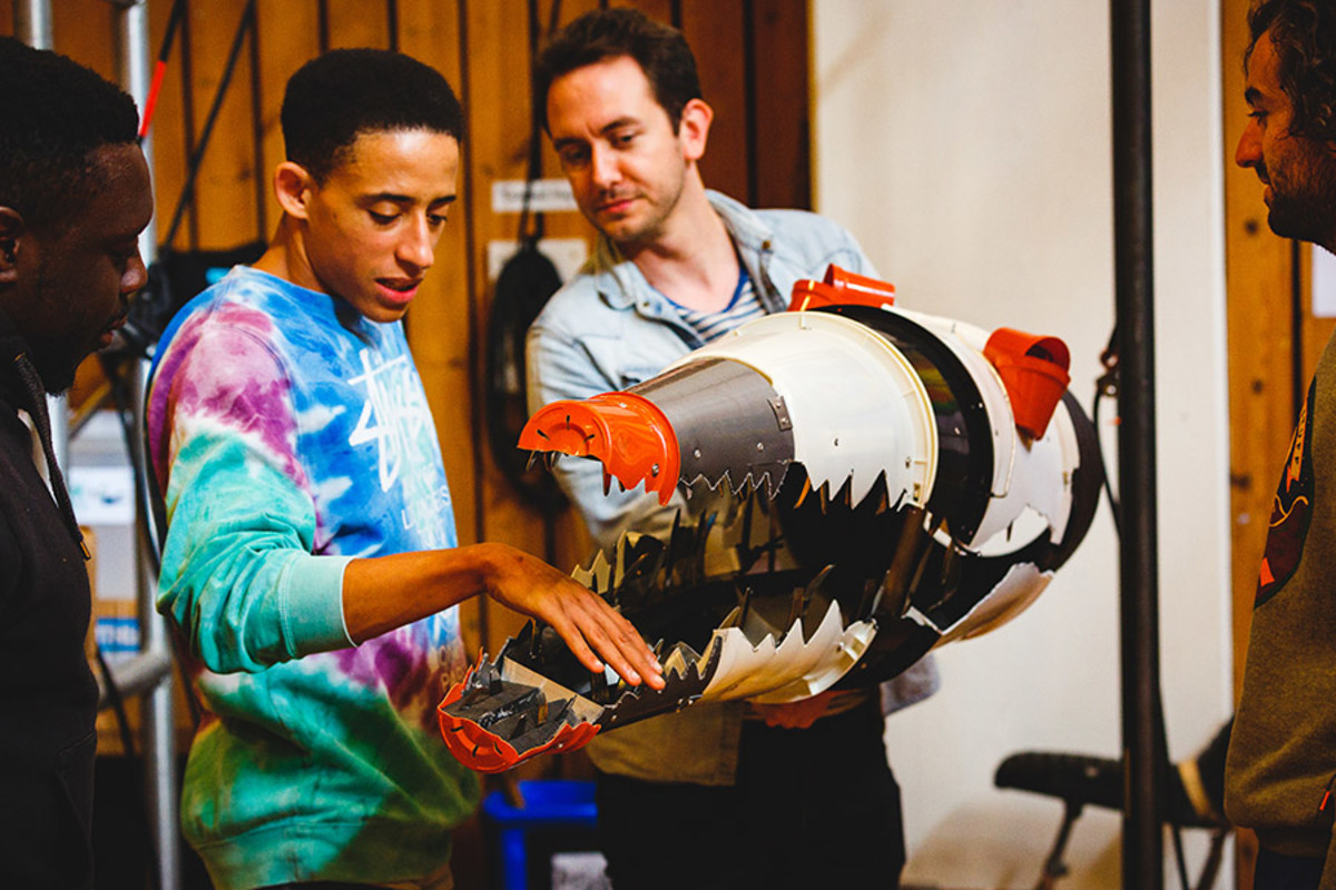 John Leader (Ensemble) and Toby Olié (Puppetry Designer and Director) in rehearsal for Peter Pan (Photo Steve Tanner)