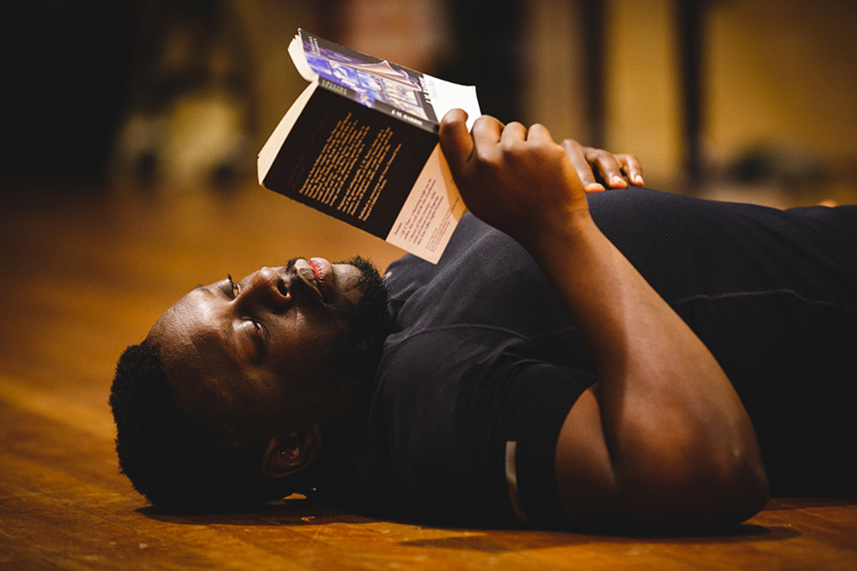 Ekow Quartey (Nana, Tootles) rehearses Peter Pan (Photo Steve Tanner)