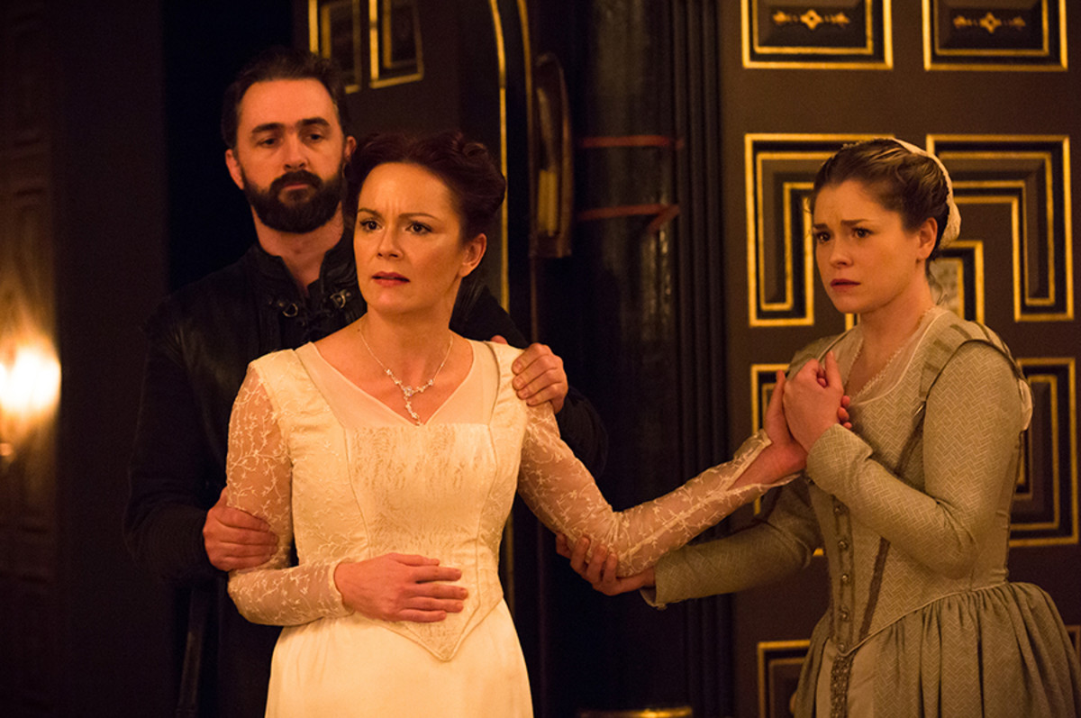 Dennis Herdman, Rachael Stirling and Jessica Baglow in The Winter's Tale at the Sam Wanamaker Playhouse (Photo: Marc Brenner)