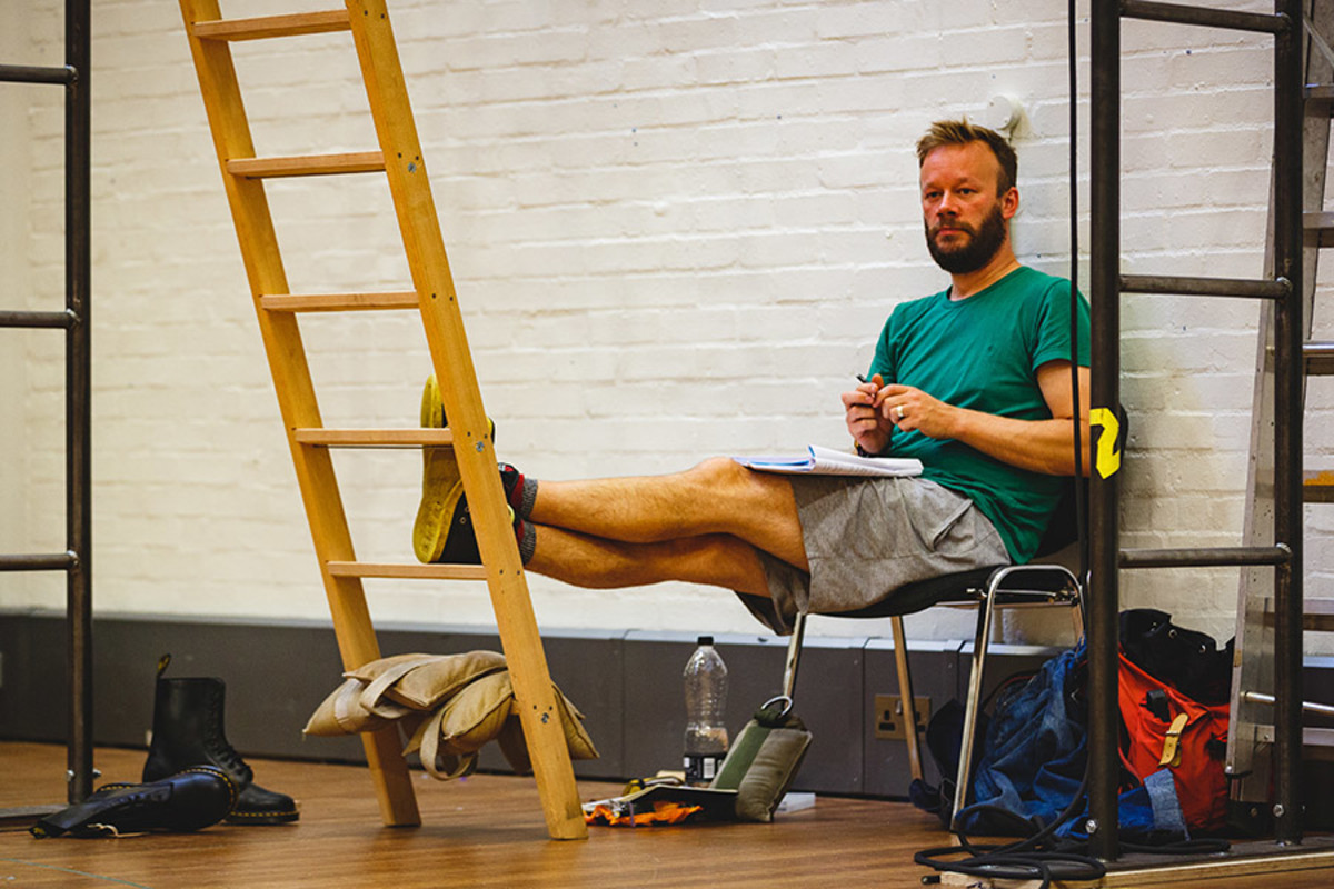 Felix Hayes (Smee, Mr Darling) rehearsing for Peter Pan (Photo Steve Tanner)