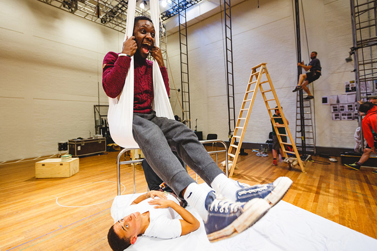 John Pfumojena (Michael) and John Leader (Ensemble) in rehearsal (Photo Steve Tanner)