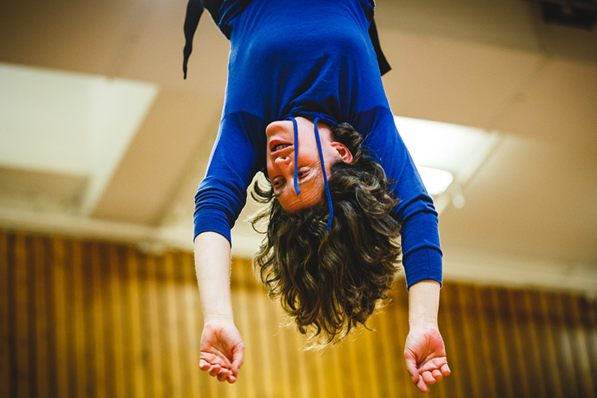 Madeleine Worrall (Wendy) rehearses flying sequence for Peter Pan (Photo Steve Tanner)