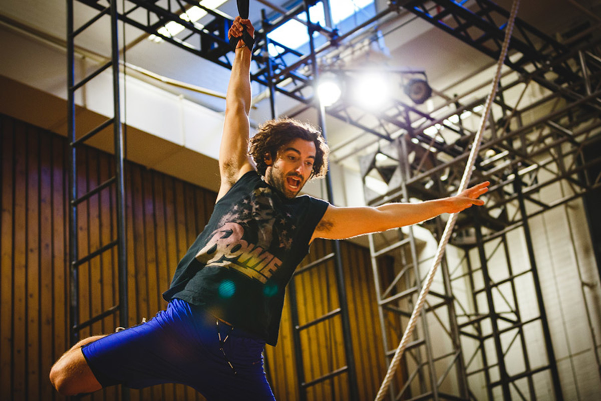 Marc Antolin (John) rehearses flying for Peter Pan (Photo Steve Tanner)