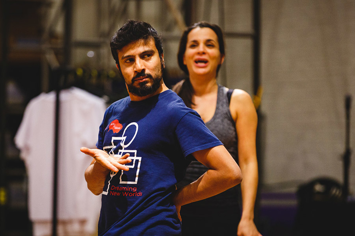 Saikat Ahamed (Tinkerbell, Curly) and Suzanne Ahmet (Ensemble) in rehearsal for Peter Pan (Photo Steve Tanner)