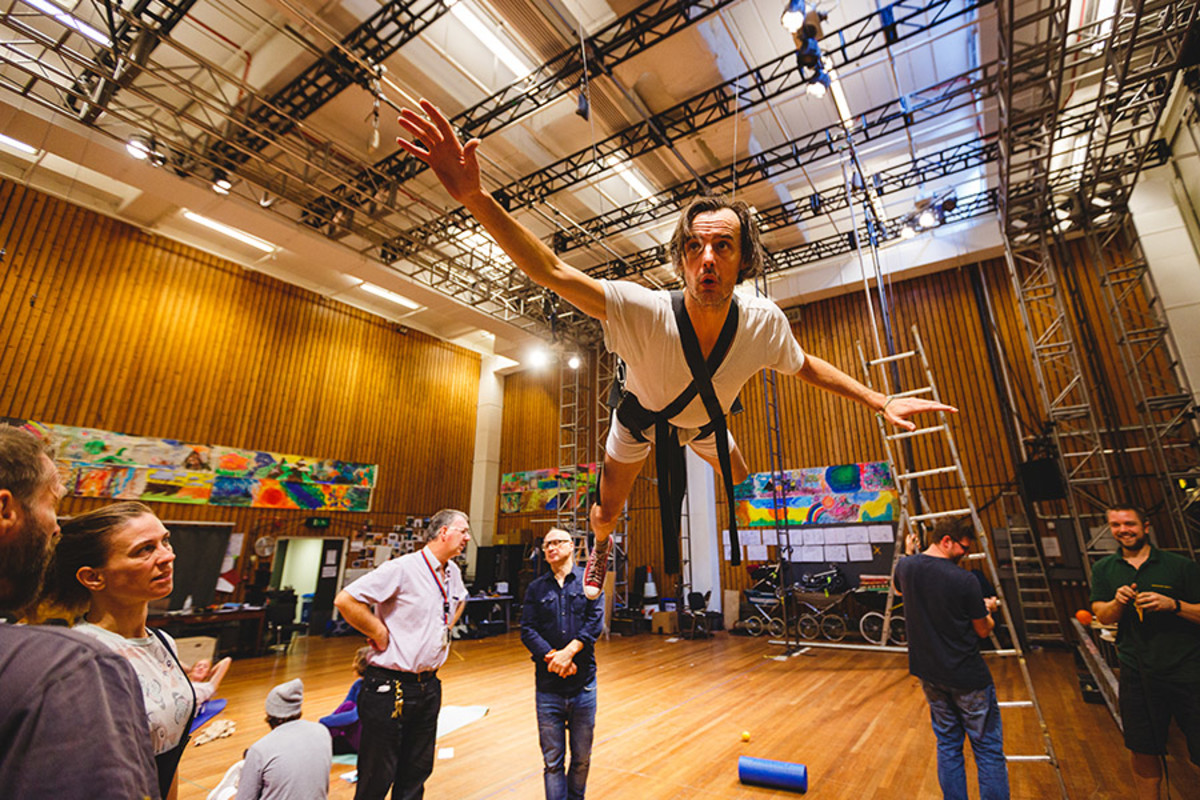 Paul Hilton (Peter Pan) rehearses flying for the show (Photo Steve Tanner)