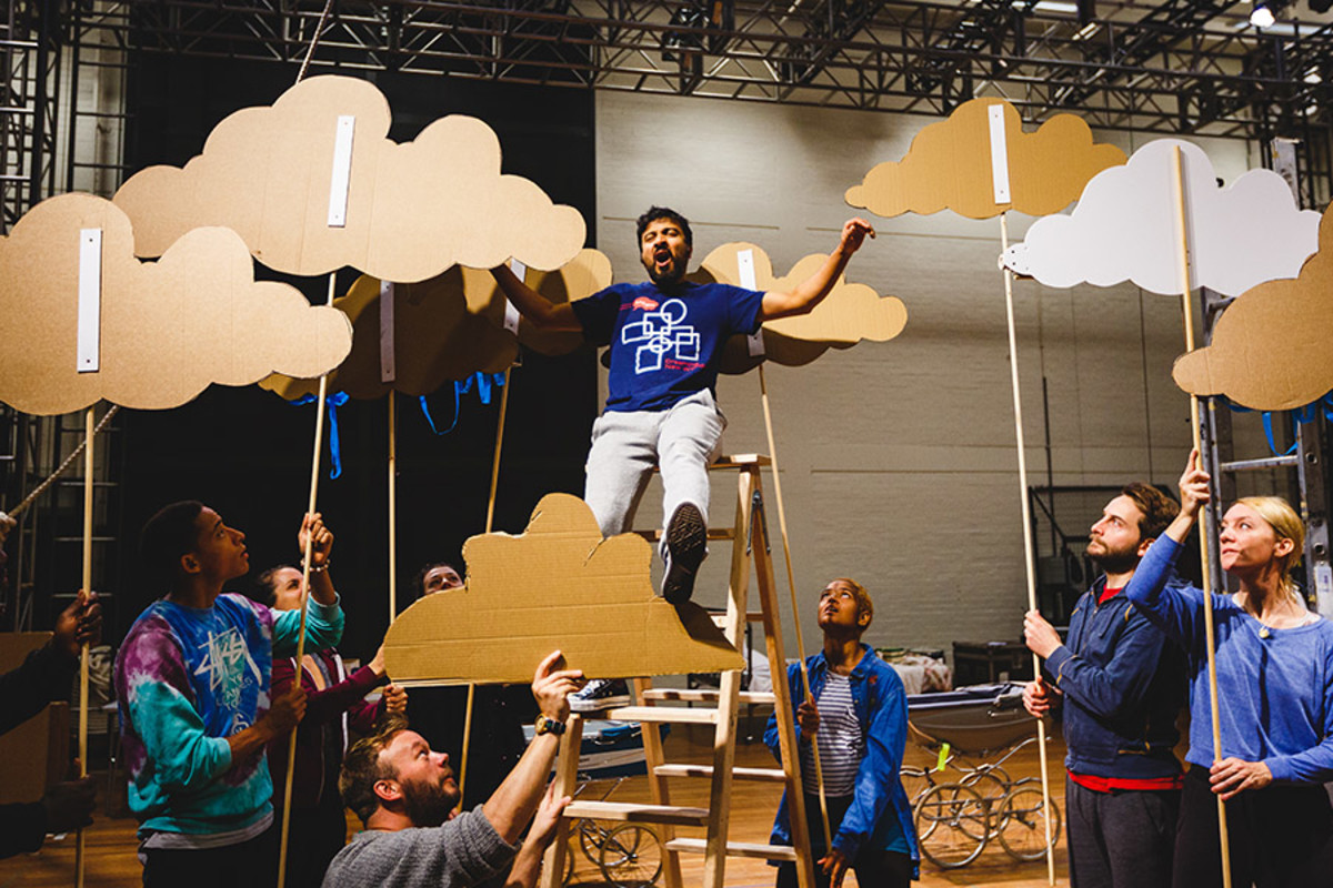 Saikat Ahamed (Tinkerbell) and the company rehearse Peter Pan (Photo Steve Tanner)