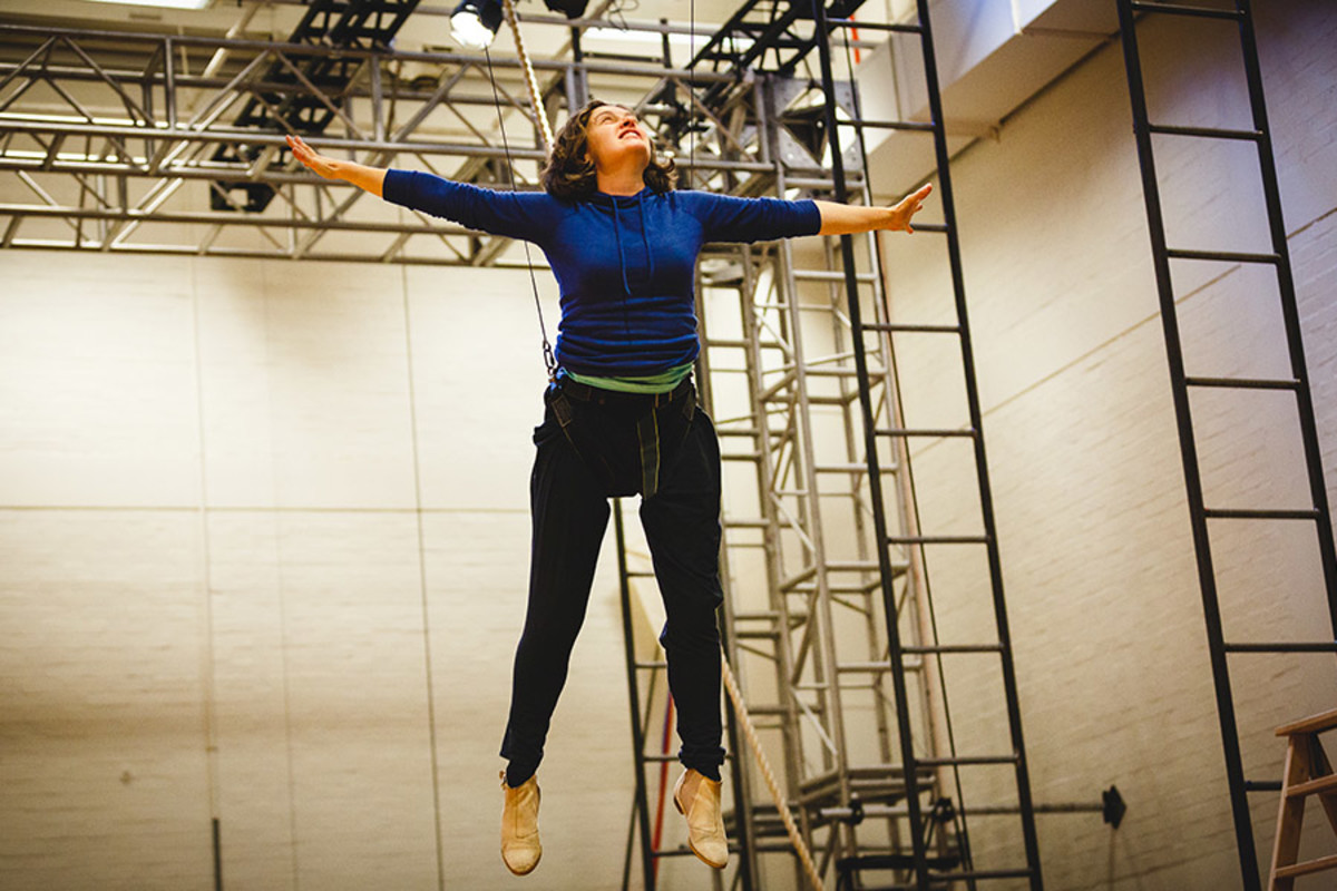 Madeleine Worrall (Wendy) rehearsing for Peter Pan (Photo Steve Tanner)