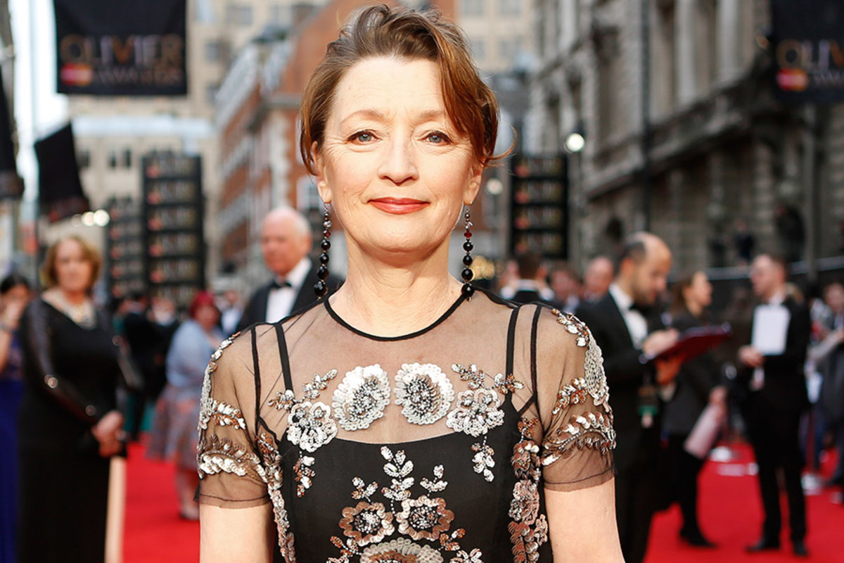 Lesley Manville on the Olivier Awards 2016 with MasterCard red carpet (Photo: Pamela Raith)