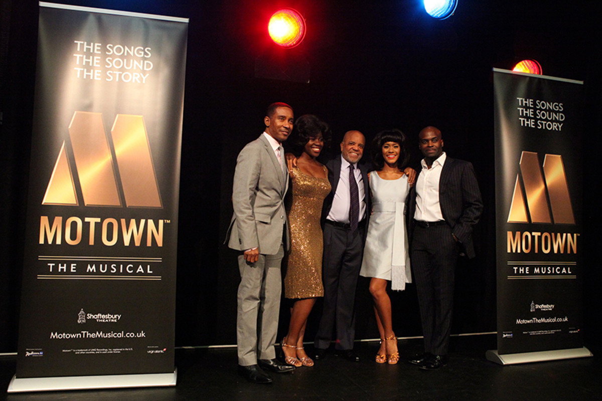 Charles Randolph-Wright (Director), Aisha Jawando (Martha Reeves), Berry Gordy, Lucy St. Louis (Diana Ross) and Cedric Neal (Berry Gordy) at the Motown The Musical launch (Photo: Craig Sugden)