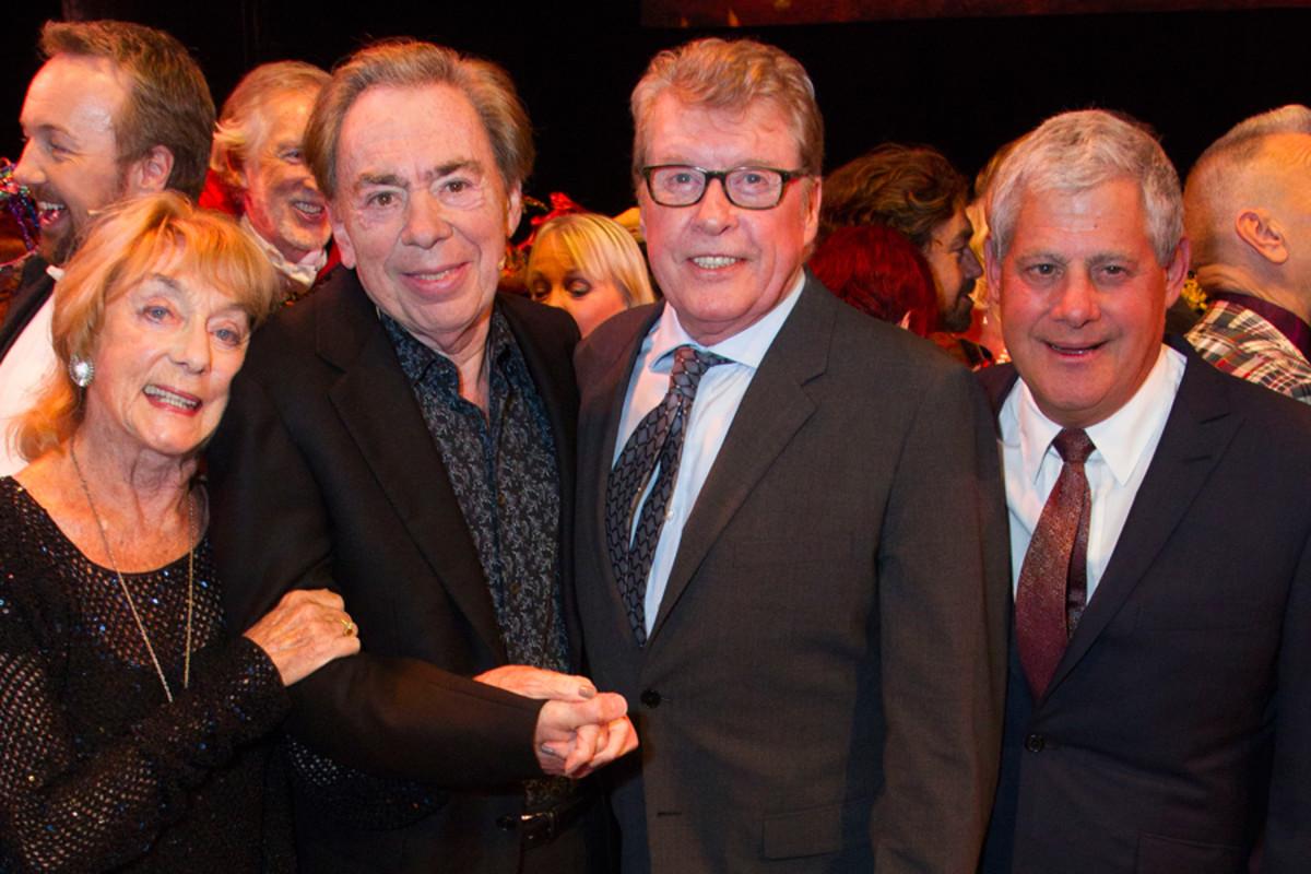 Gillian Lynne, Andrew Lloyd Webber, Michael Crawford and Cameron Mackintosh.  (Photo: Dan Wooller)