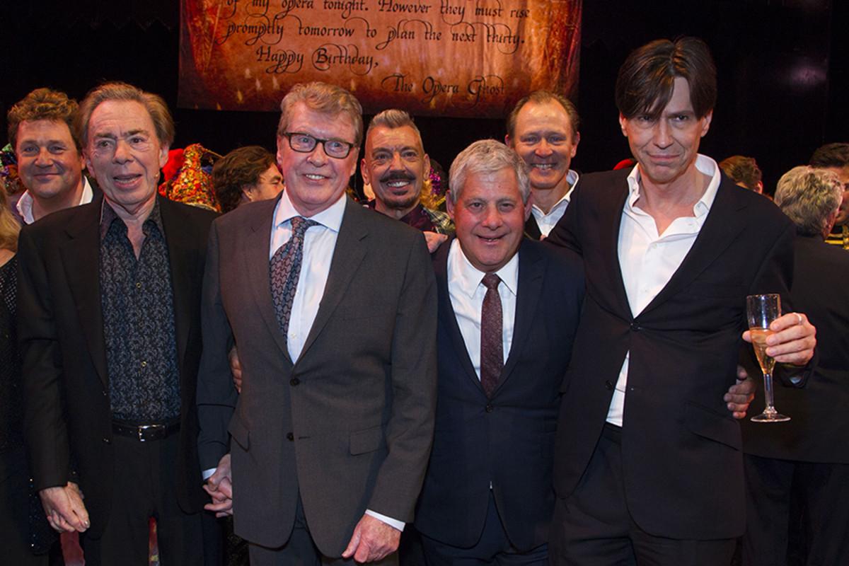 Michael Ball, Andrew Lloyd Webber, Michael Crawford, Cameron Mackintosh, Charles Hart.  (Photo: Dan Wooller)