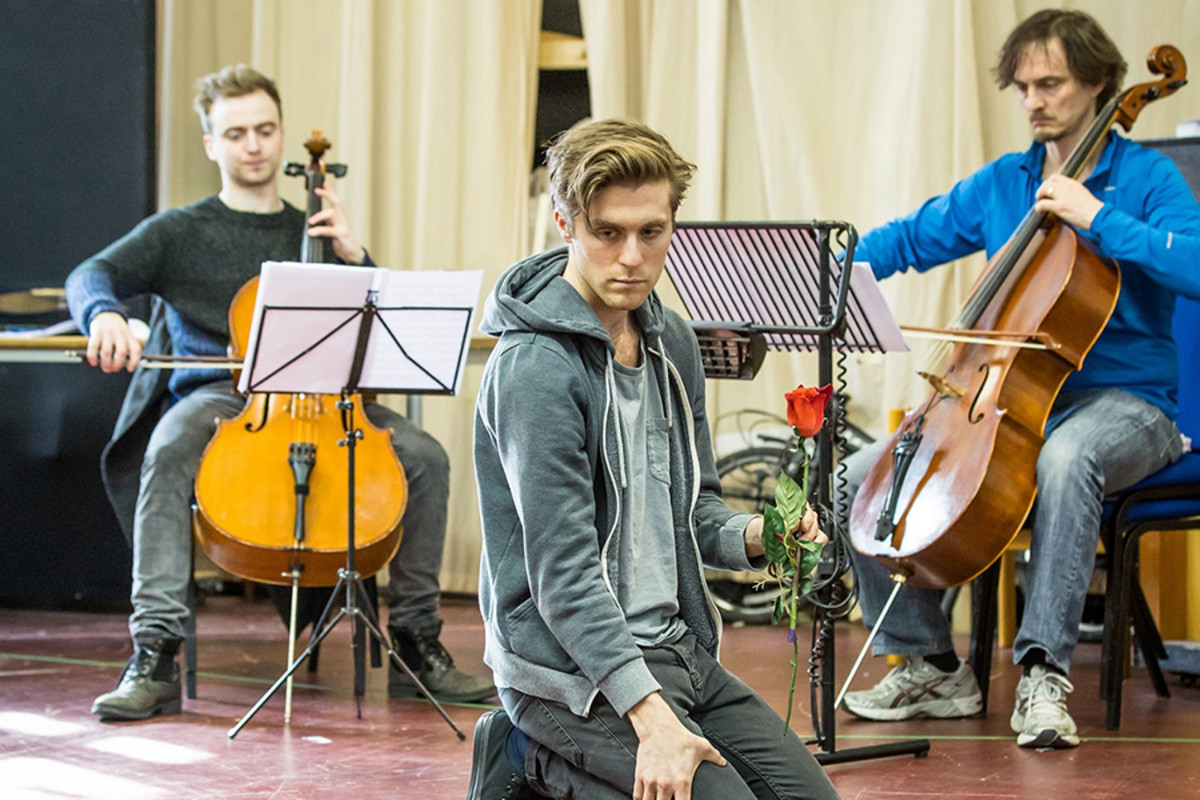 Jamie Cameron, Jack Farthing and Harry Napier in rehearsals for Carmen Disruption at Almeida Theatre (Photo: Marc Brenner)