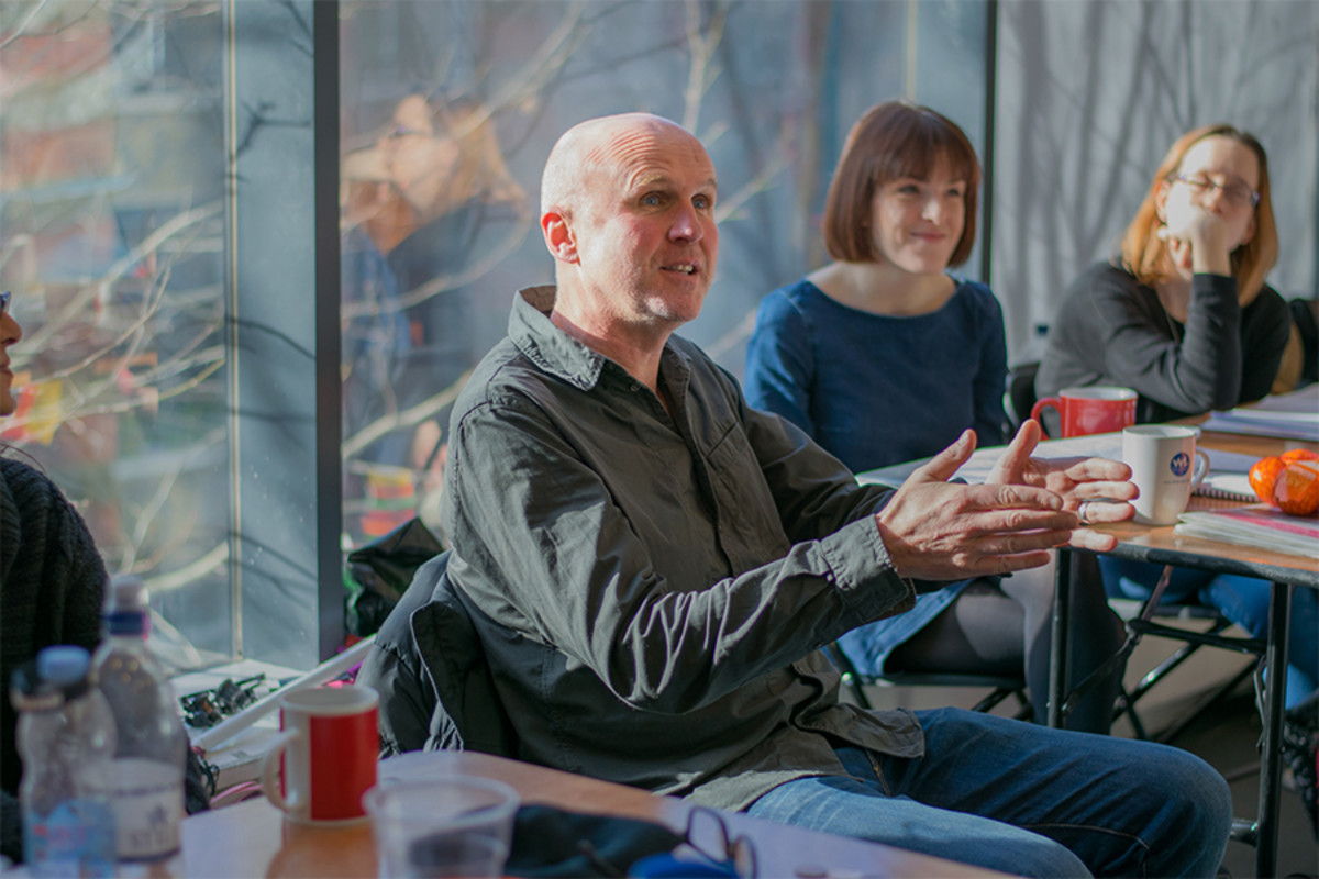 Tim Crouch in rehearsals for Jeramee, Hartleby And Oooglemore at the Unicorn Theatre (Photo: Richard Davenport)