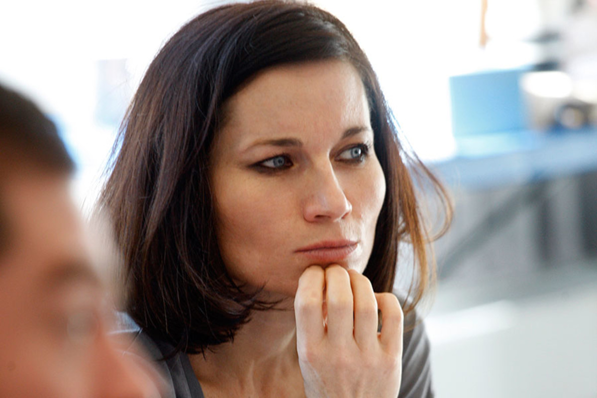Kate Fleetwood in rehearsals for Bug, playing at Found111 (Photo: Simon Annand)
