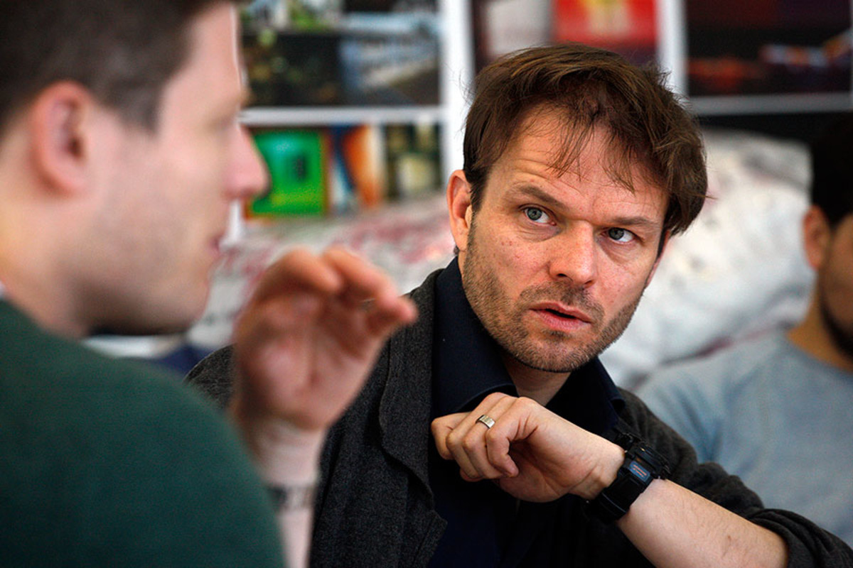 Alec Newman in rehearsals for Bug, playing at Found111 (Photo: Simon Annand)