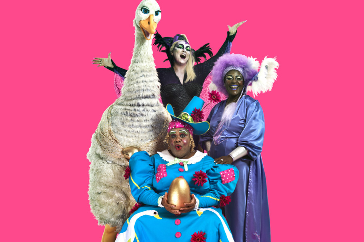 Clive Rowe, Sharon D Clarke, Susie Mckenna and Priscilla The Goose, stars of 2014's Mother Goose at Hackney Empire (Photo: Perou)