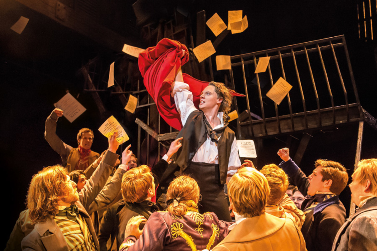 Chris Cowley as Enjolras in Les Mis (Photo: Johan Persson)