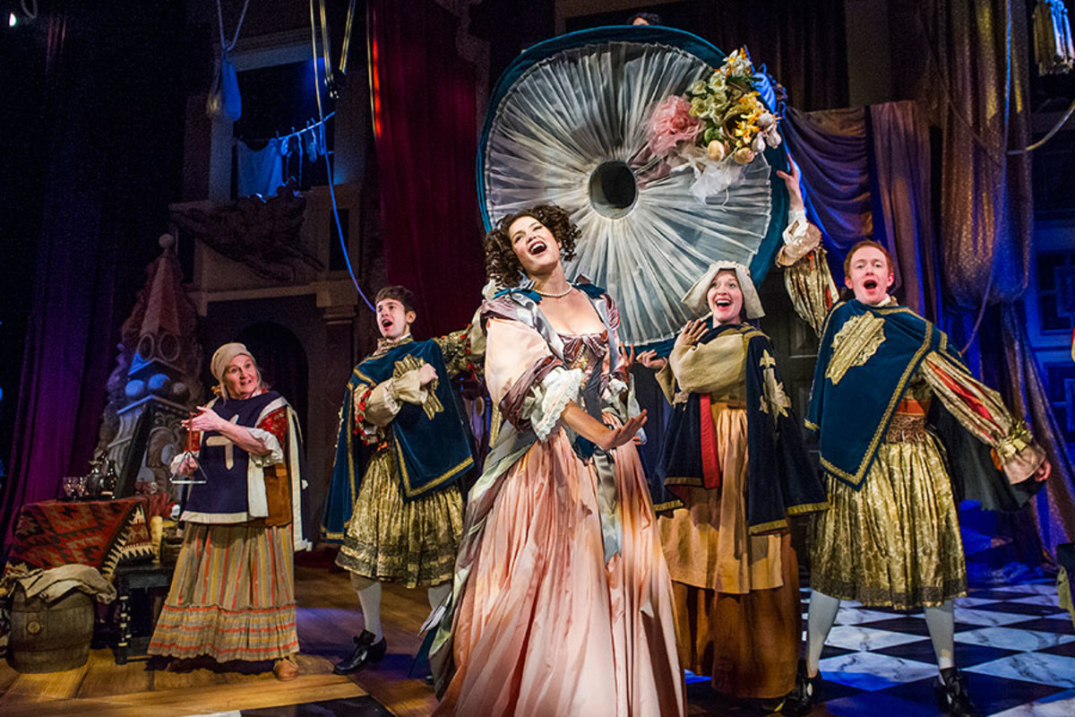 Gemma Arterton and the cast of Nell Gwynn, playing at the Apollo Theatre (Photo: Tristram Kenton)