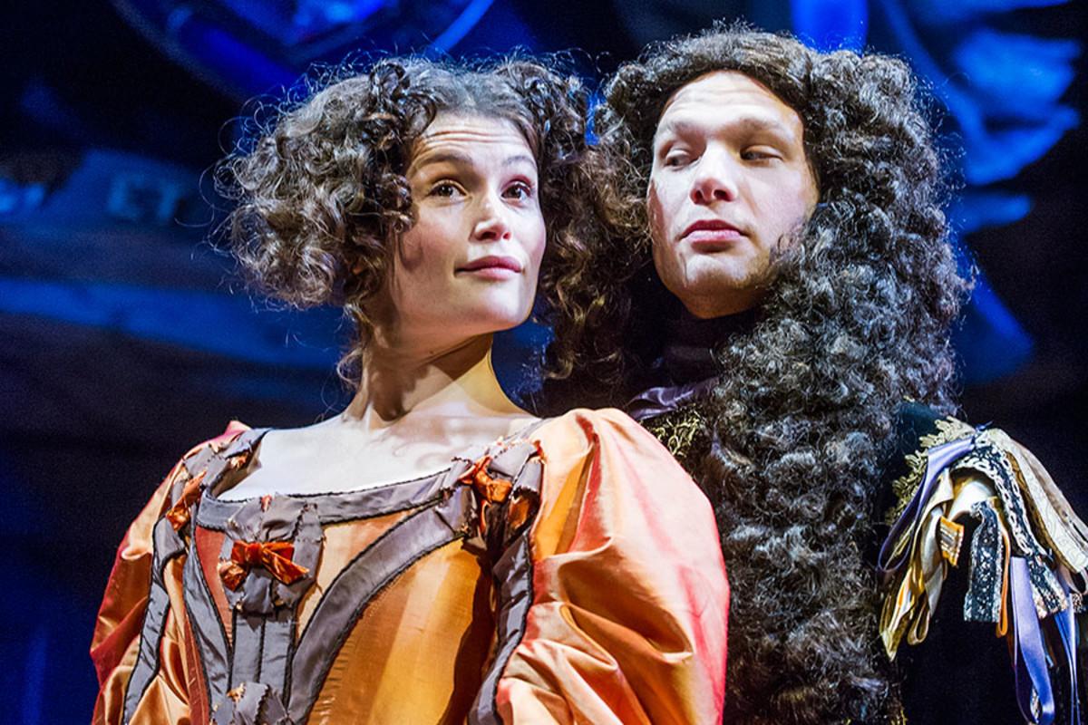 Gemma Arterton and David Sturzaker star in Nell Gwynn, playing at the Apollo Theatre (Photo: Tristram Kenton)