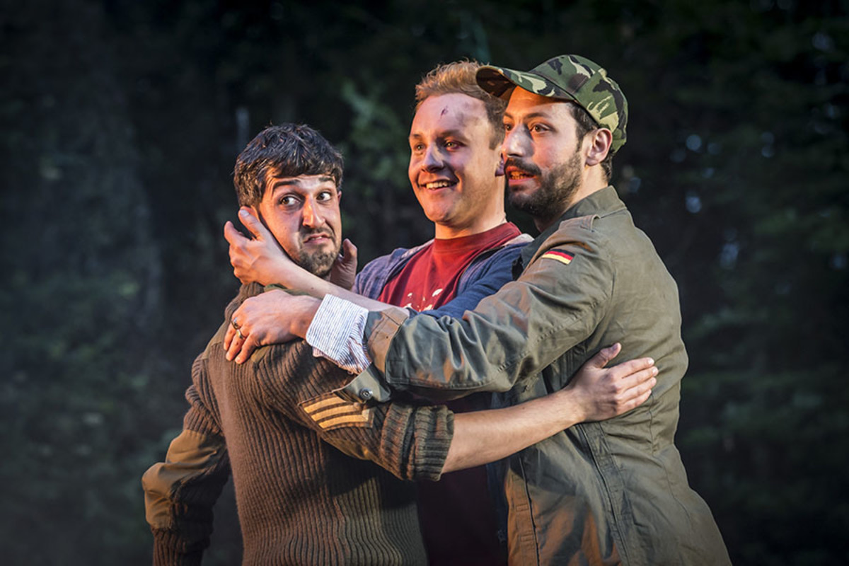 Beruce Khan, Bobby Delaney and Philip Arditti in Henry V at Regent's Park Open Air Theatre (Photo: Johan Persson)