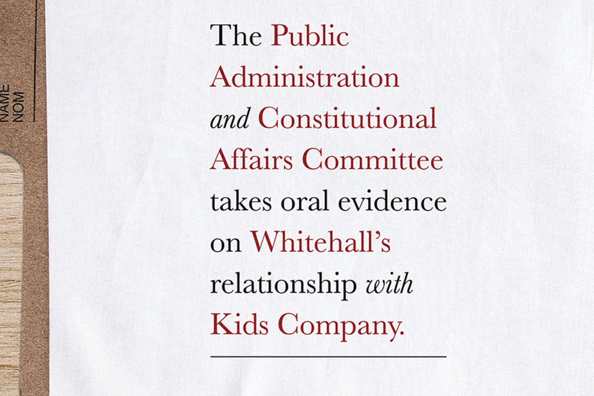 The Public Administration And Constitutional Affairs Committee Takes Oral Evidence On Whitehall's Relationship With Kids Company at the Donmar Warehouse