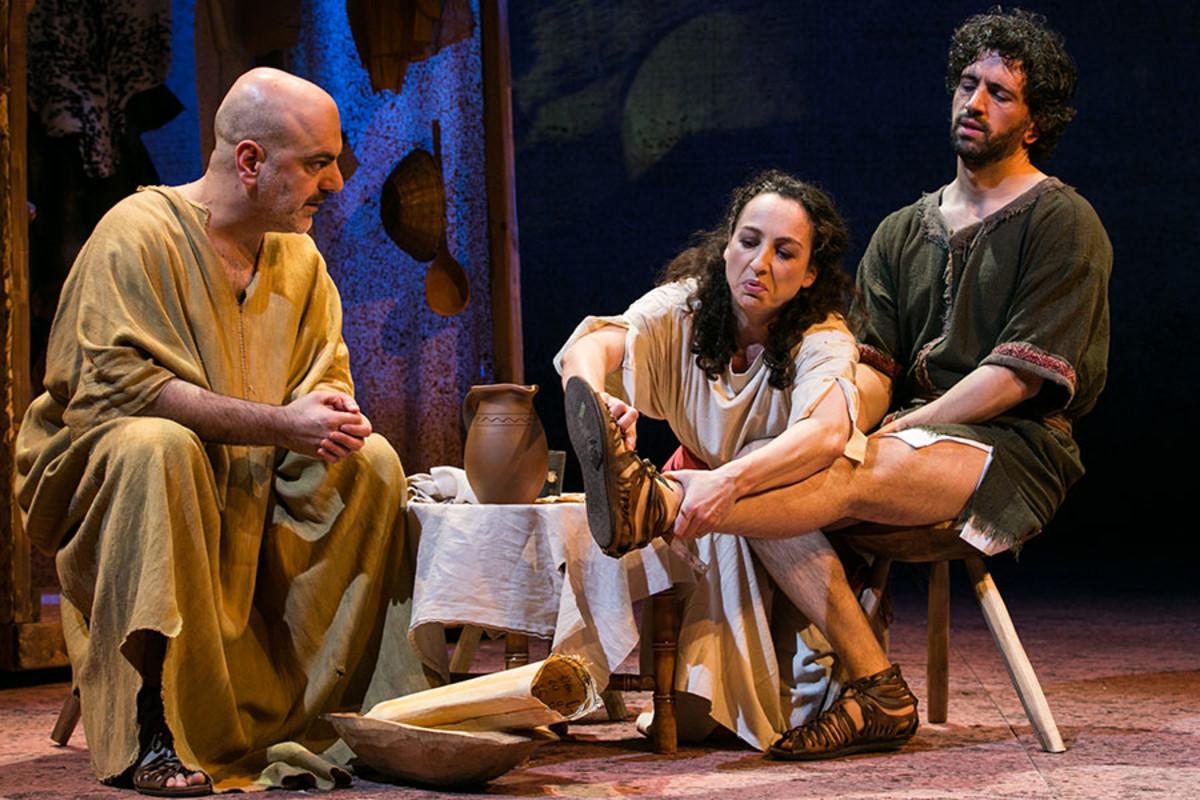 Dana Haqjoo, Antonia Davies and Greg Barnett in NotMoses, playing at the Arts Theatre (Photo: Darren Bell)