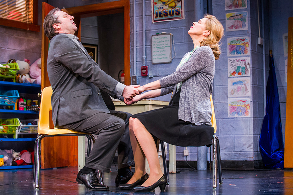 Neil Pearson and Janie Dee in Hand To God at the Vaudeville Theatre