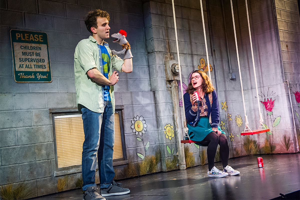 Harry Melling, Tyrone and Jemima Rooper in Hand To God at the Vaudeville Theatre