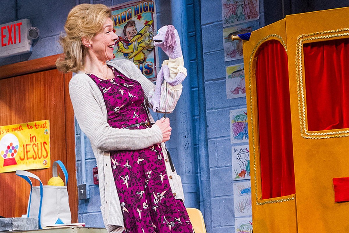 Janie Dee in Hand To God at the Vaudeville Theatre