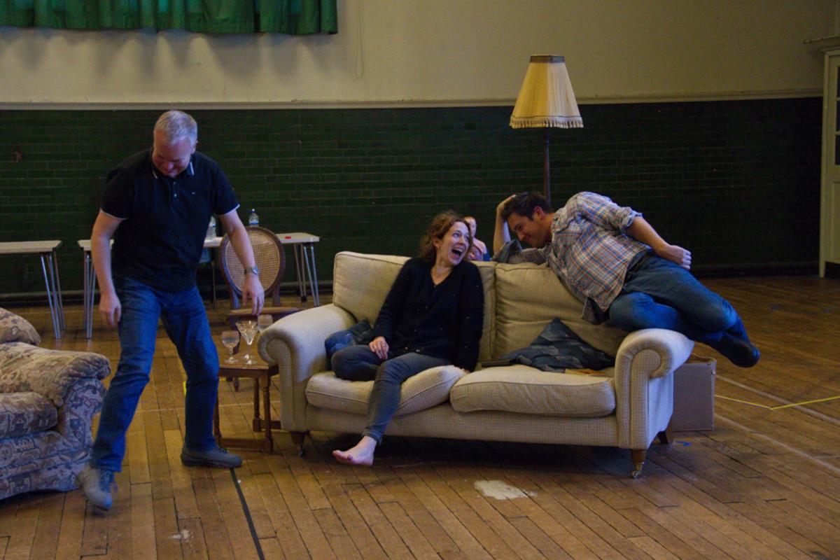 Steve Pemberton, Katherine Parkinson and Rufus Jones in Dead Funny (Photo: Grace Wordsworth)