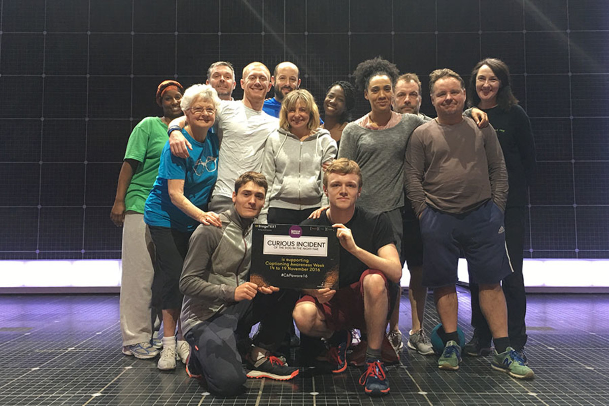 The cast of The Curious Incident Of The Dog supporting Captioning Awareness Week