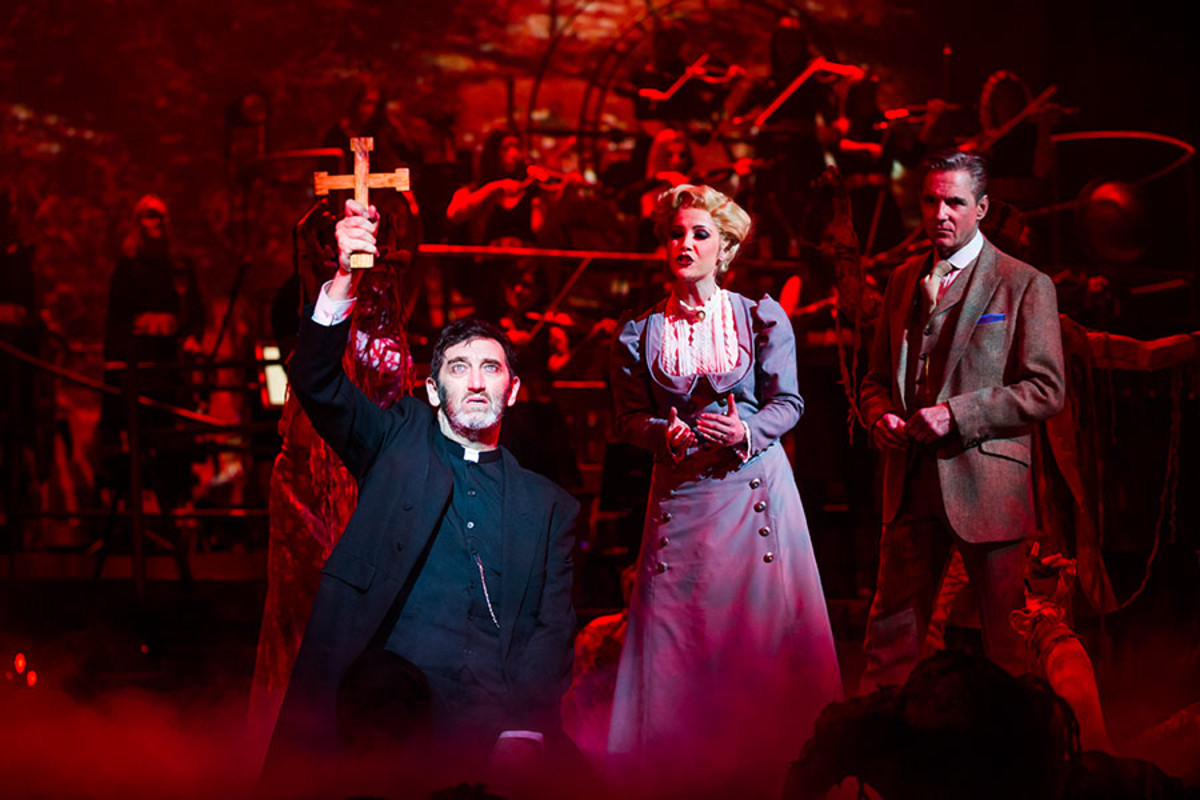 Jimmy Nail, Heidi Range and Michael Praed in The War Of The Worlds at the Dominion Theatre (Photo: Tristram Kenton)