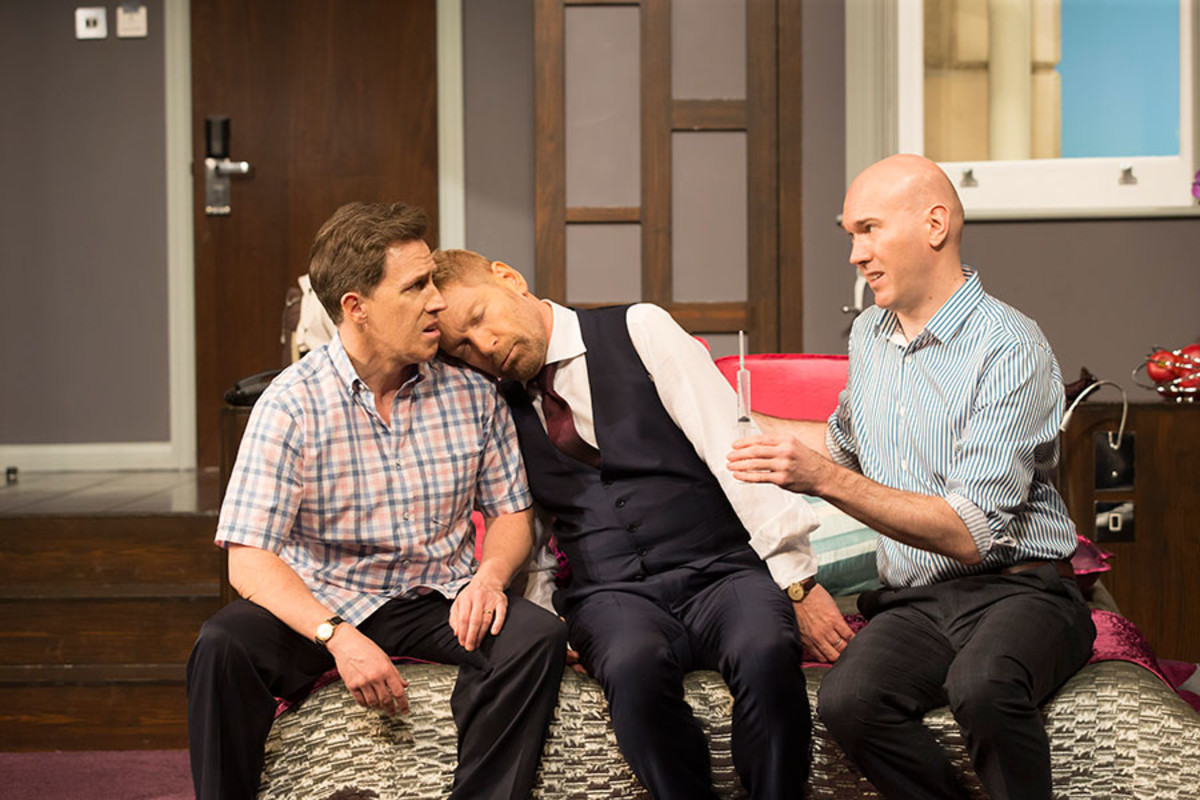 Rob Brydon, Kenneth Branagh and Alex Macqueen in The Painkiller, playing at Garrick Theatre (Photo: Johan Persson)