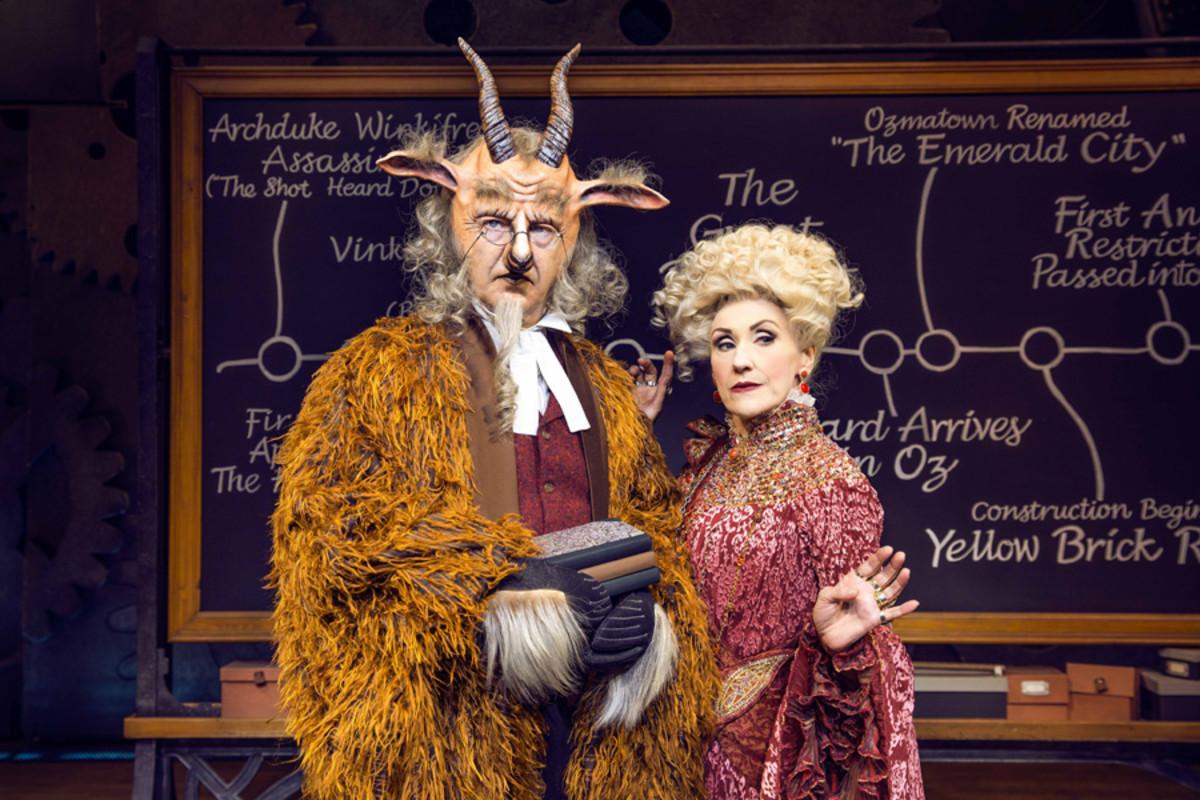 Martin Ball as Doctor Dillamond & Anita Dobson as Madame Morrible (Photo: Matt Crockett)