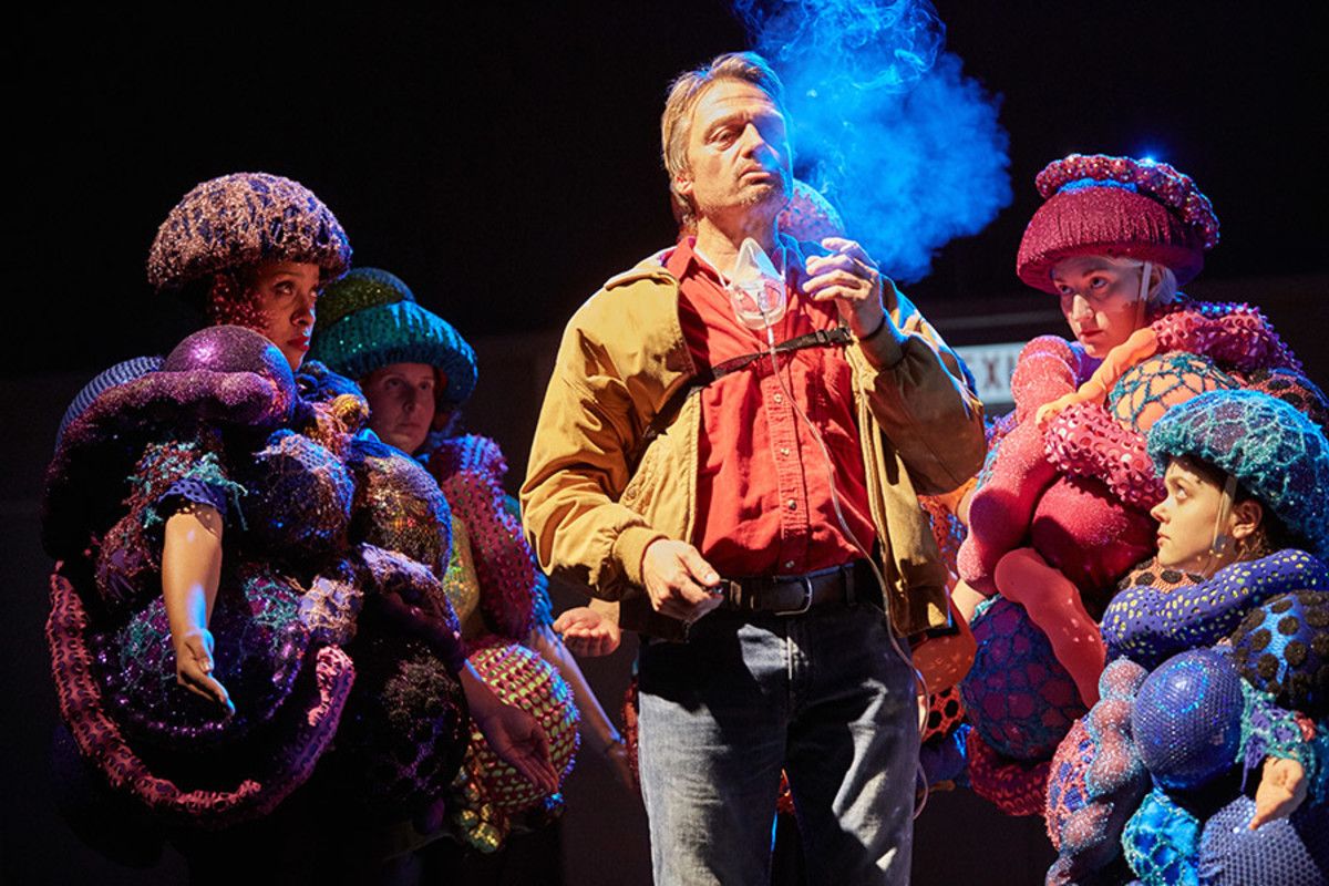 Hal Fowler and the company of A Pacifist's Guide To The War On Cancer (Photo: Mark Douet)
