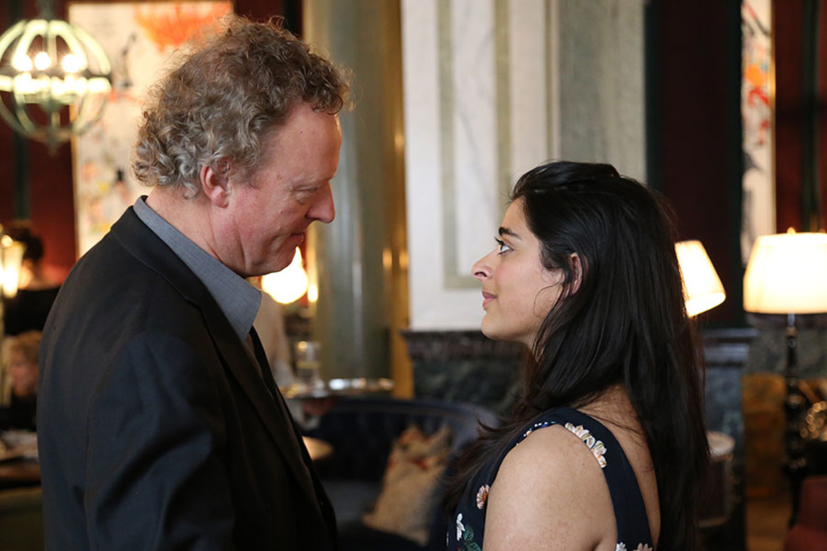 Bend It Like Beckham composer Howard Goodall and Best Actress in a Musical nominee Natalie Dew at the Olivier Awards 2016 with MasterCard nominees' celebration