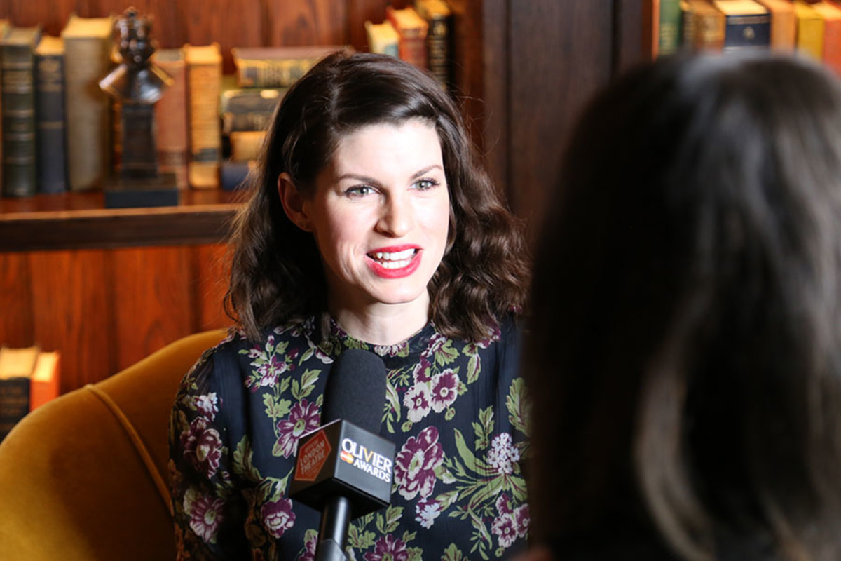 Hand To God's Jemima Rooper being interviewed at the Olivier Awards 2016 with MasterCard nominees' celebration