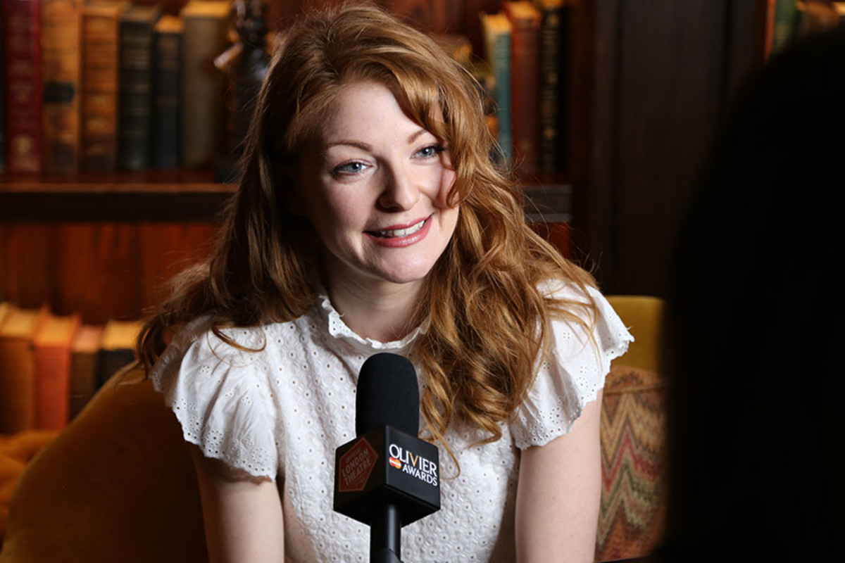 Best Actress in a Musical nominee Laura Pitt-Pulford being interviewed at the Olivier Awards 2016 with MasterCard nominees' celebration