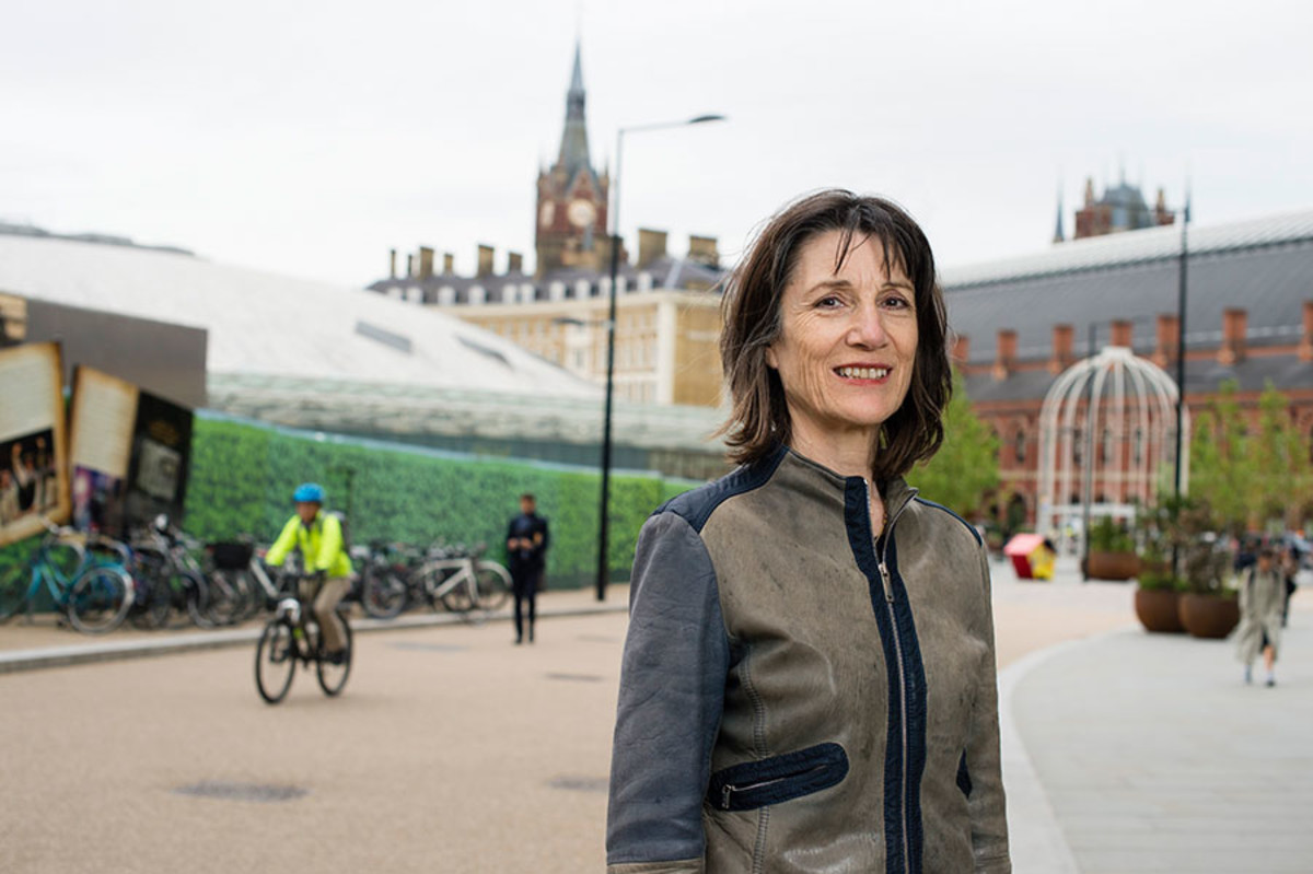 Harriet Walter at the site of the Donmar's temporary theatre in King's Cross (Photo: Holly Wren)