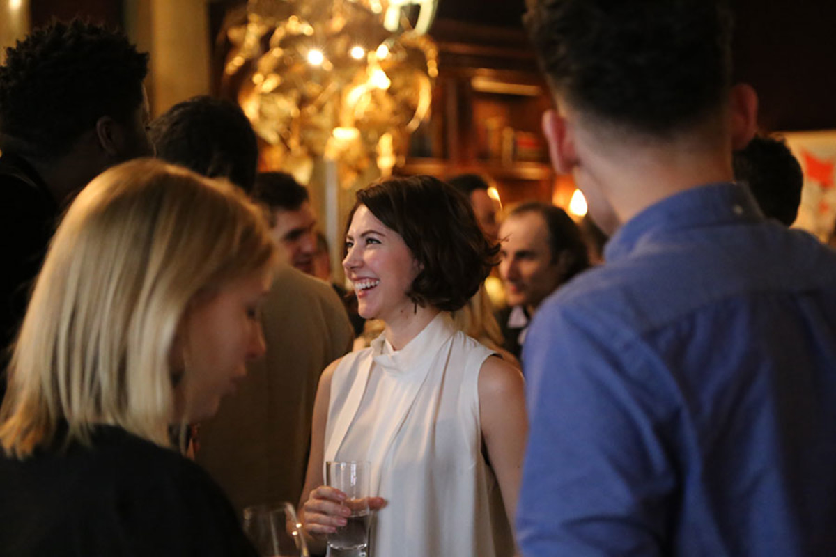 Best Actress in a Supporting Role nominee Catherine Steadman at the Olivier Awards 2016 with MasterCard nominees' celebration