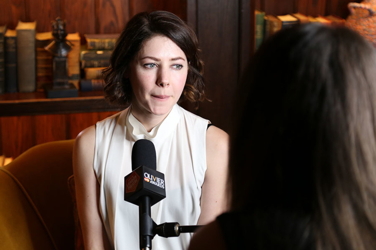 Best Actress in a Supporting Role nominee Catherine Steadman being interviewed at the Olivier Awards 2016 with MasterCard nominees' celebration