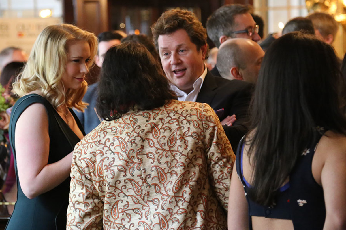 Best Actress in a Supporting Role in a Musical nominee Emma Williams and host Michael Ball at the Olivier Awards 2016 with MasterCard nominees' celebration
